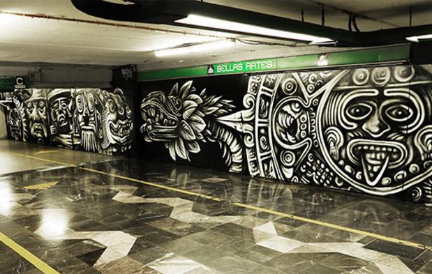 Nuevo mural en el corredor del metro bellas artes factor for Arte mural en mexico